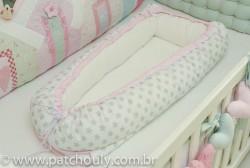 Ninho para Bebê Branco com Estrelas Cinza com Rosa 1