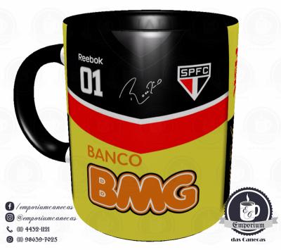 Caneca São Paulo FC - Camisa Rogério Ceni 100 Gols - Porcelana 325 ml