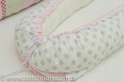 Ninho para Bebê Branco com Estrelas Cinza com Rosa 2