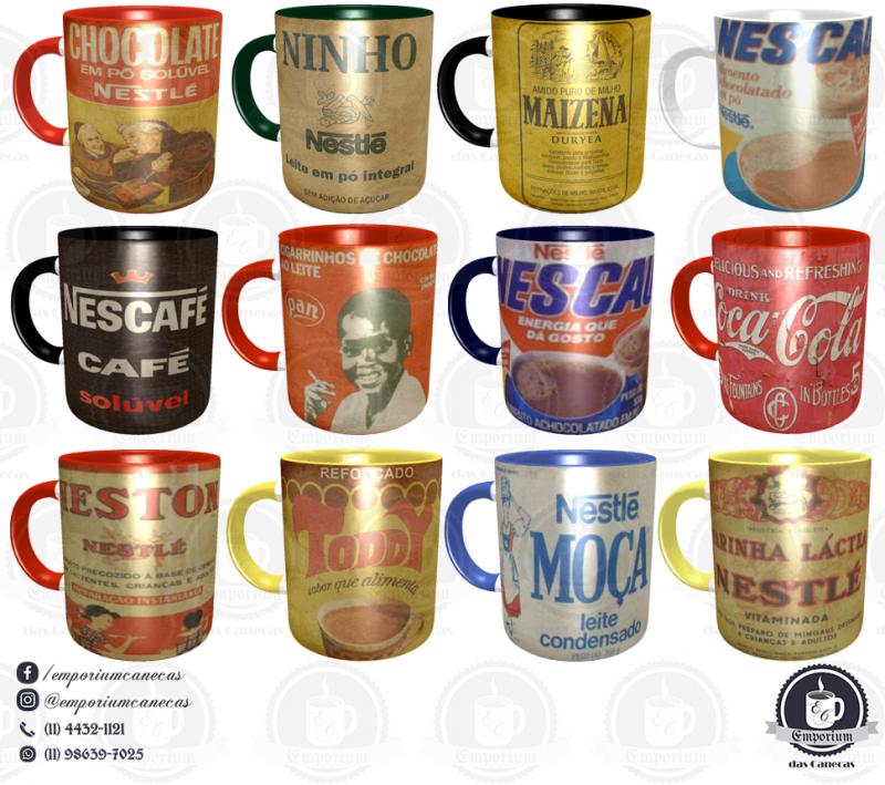 Kit Canecas Vintage - Marcas Inesquecíveis - 4 Unid. - Porcelana 325 ml