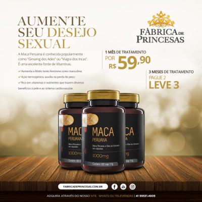 Maca Peruana + Óleo de Cártamo 1000mg - 1 mês de tratamento