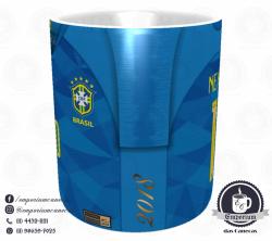 Caneca Selecao Brasileira - Camisa 2018 Away - Porcelana 325 ml 2
