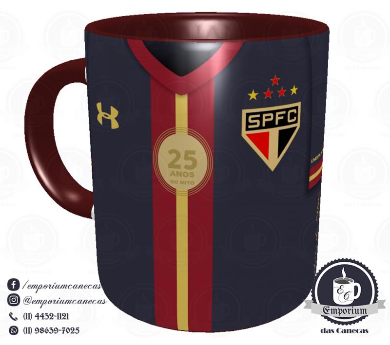 Caneca São Paulo FC - Camisa Rogério Ceni 25 Anos - Porcelana 325 ml
