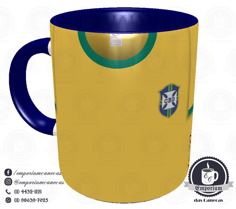 Caneca Seleção Brasileira - Camisa 1970 (Tricampeão Mundial) - Porcelana 325 ml