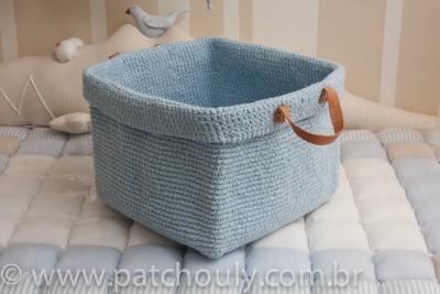 Cestinho de Crochet Grande - Azul Claro
