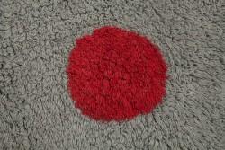 Tapete Cinza com bolas vermelha, branca e bege, modelo C-TT-3 3