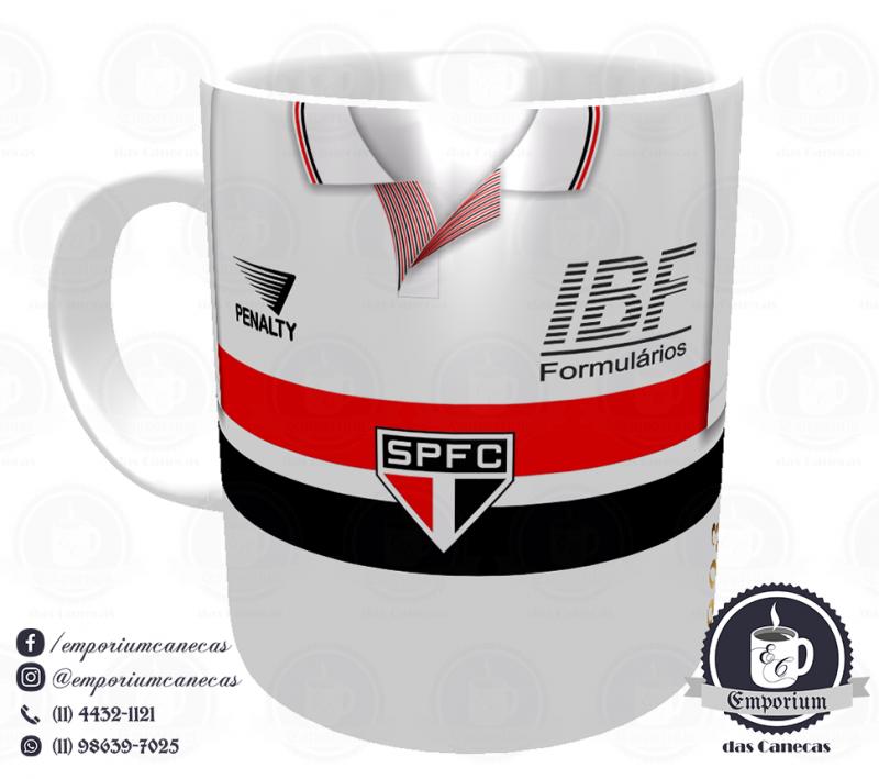 Caneca São Paulo FC - Camisa 1992/93 Bi-Libertadores Branca - Porcelana 325 ml
