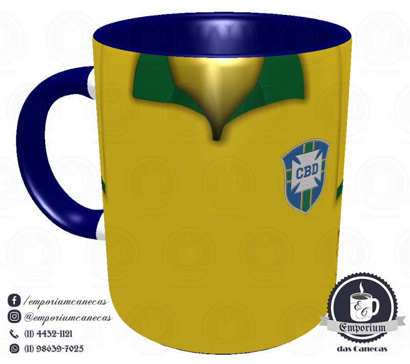 Caneca Seleção Brasileira - Camisa 1962 (Bicampeão Mundial) - Porcelana 325 ml