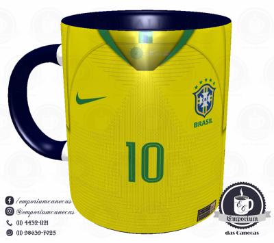 Caneca Seleção Brasileira - Camisa 2018 Home - Porcelana 325 ml