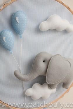 Enfeite de porta Elefante Azul com Balão 4