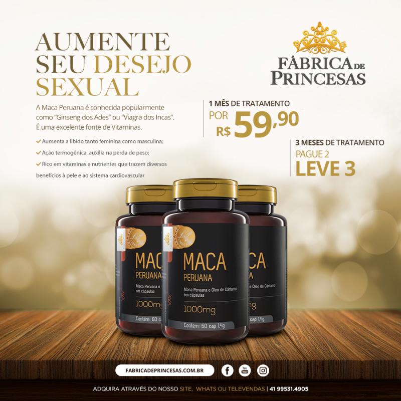 Maca Peruana + Óleo de Cártamo 1000mg - 3 meses de tratamento