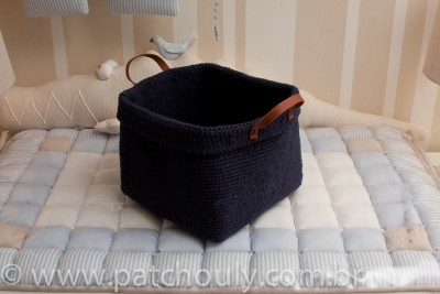 Cestinho de Crochet Grande - Azul Marinho