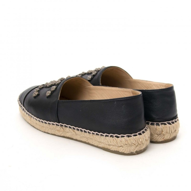 ec0f9cd37 ... Chanel Espadrilles CC Camellia Black Lambskin Leather 2 ...