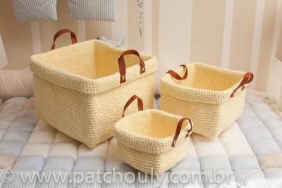 Kit Cestinho de Crochet Amarelinho