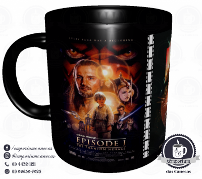 Caneca Clássicos do Cinema - Star Wars (Trilogia Prequela) - Porcelana 325 ml