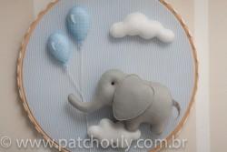 Enfeite de porta Elefante Azul com Balão 1