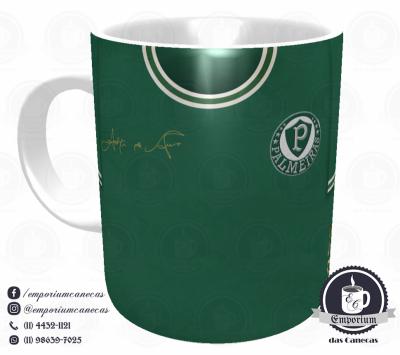 Caneca Palmeiras - Camisa 1972 Ademir da Guia - Porcelana 325 ml