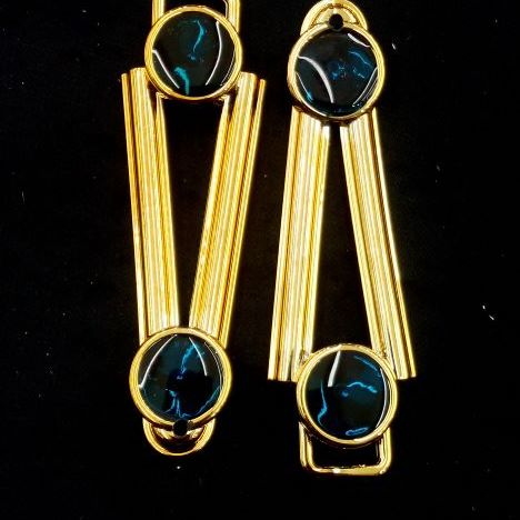 Ponto Exclamacao Dourado/Azul ABS 029