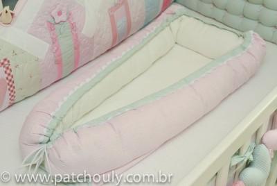 Ninho para Bebê Listrado Rosa Leve e Malva