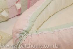 Ninho para bebê Listrado Rosa e Malva 4