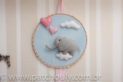 Enfeite de porta Elefante Azul com Coração 1