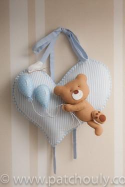Enfeite de porta Urso Azul com Balão 4