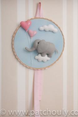 Enfeite de porta Elefante Azul com Coração 2