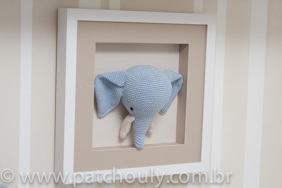 Quarto de Selva - Quadro de Elefante de crochet