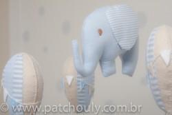 Móbile de Elefante e Balões Azul 3