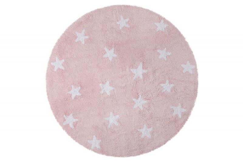 Tapete Redondo na cor Rosa com Estrela Branca, Modelo C-10001