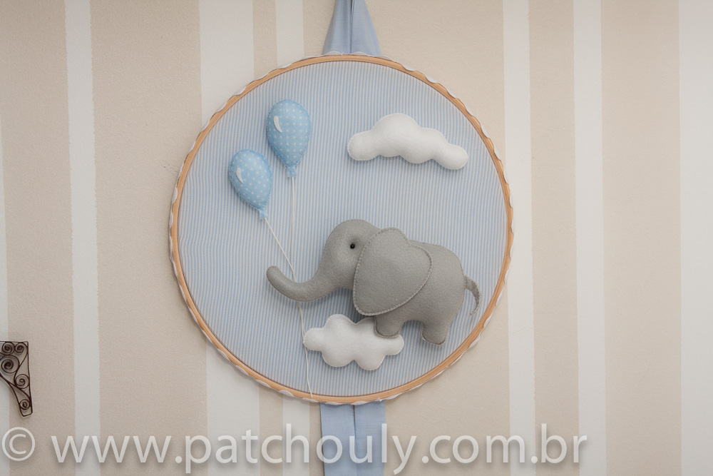 Enfeite de porta Elefante Azul com Balão