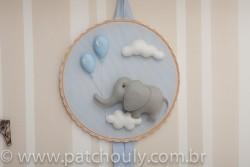 Enfeite de porta Elefante Azul com Balão 2