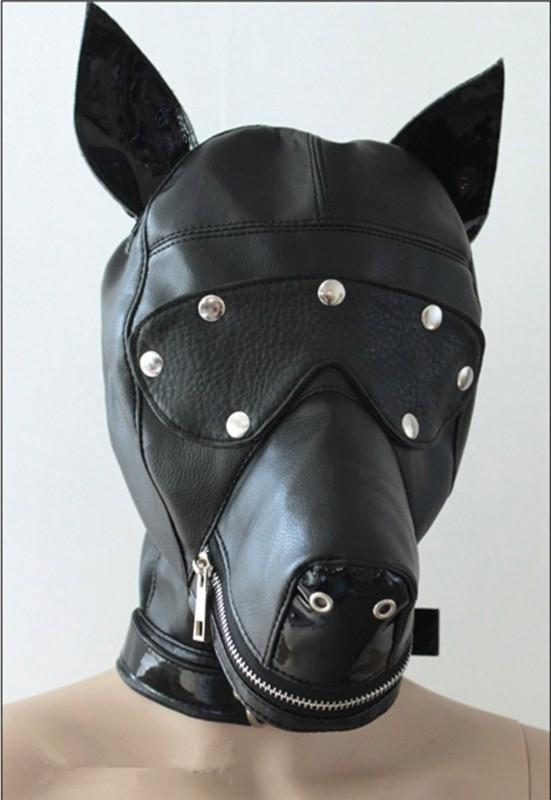 Mascara de Cachorro em Couro Preto