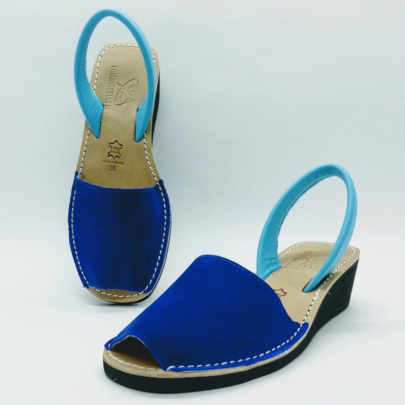 Anabela Nobuck Azul Bicolor
