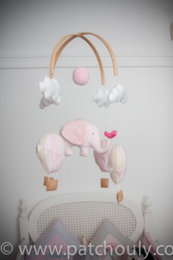 Móbile de Elefante e Balões Rosa 3