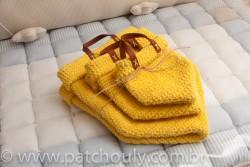 Kit Cestinho de Crochet Amarelo Forte 2