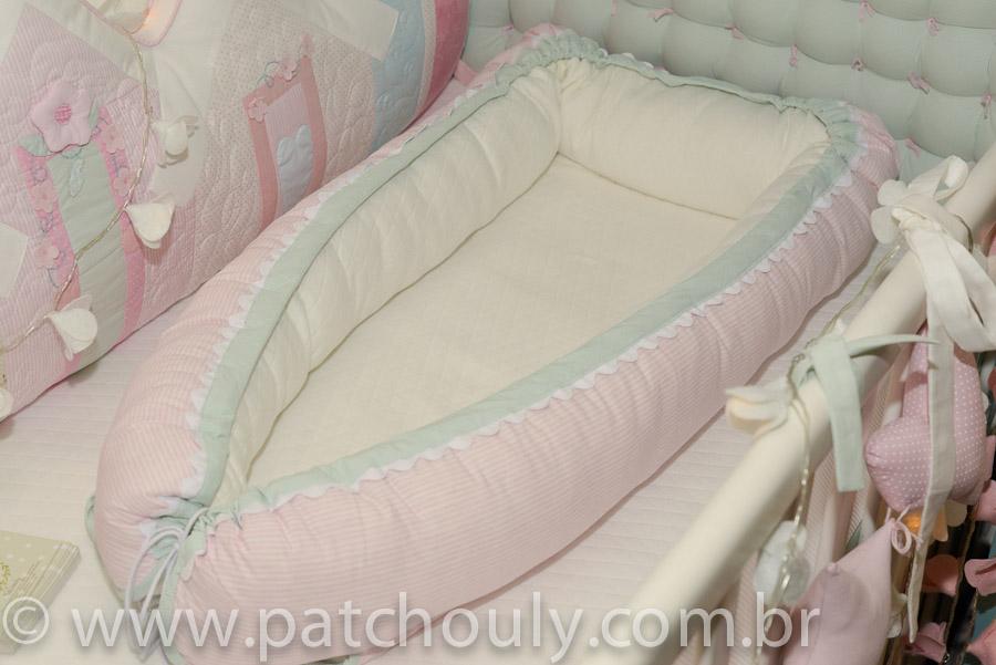Ninho para bebê Listrado Rosa e Malva