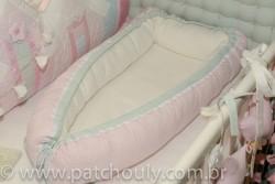 Ninho para bebê Listrado Rosa e Malva 2