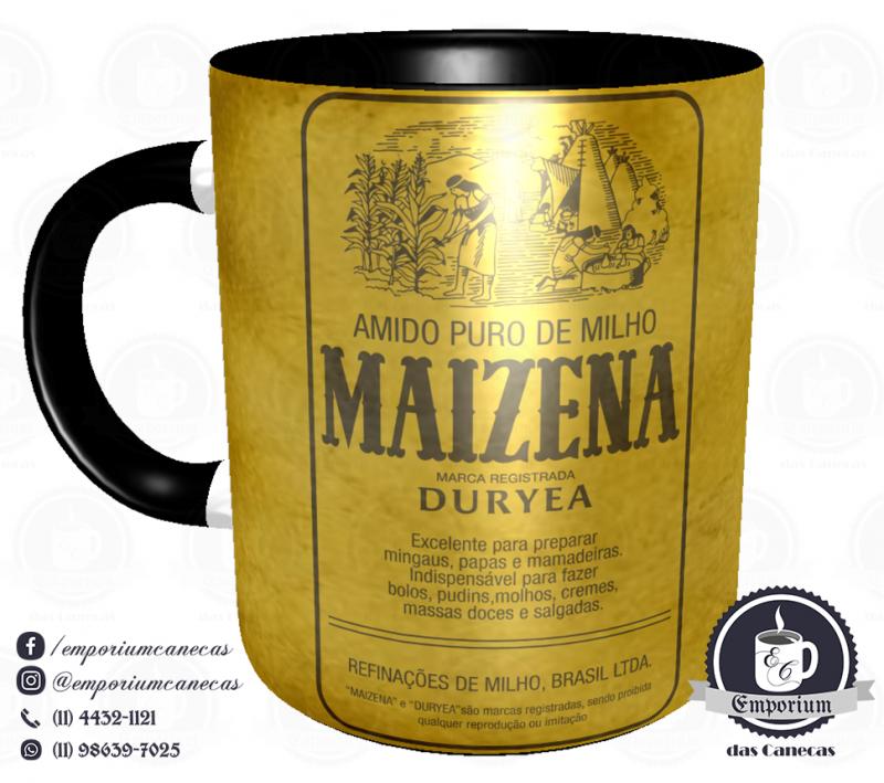 Caneca Vintage - Marcas Inesquecíveis - Maizena (Interior Preto) - Porcelana 325 ml