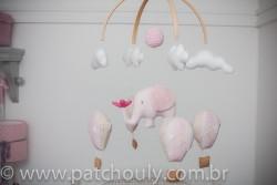 Móbile de Elefante e Balões Rosa 2