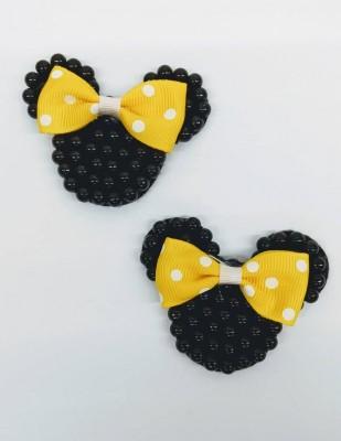 Carinha Minnie Preta c/ Laço amarelo infantil