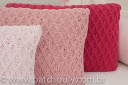 Almofada Retangular de Tricot Aran Rosa Pastel 4