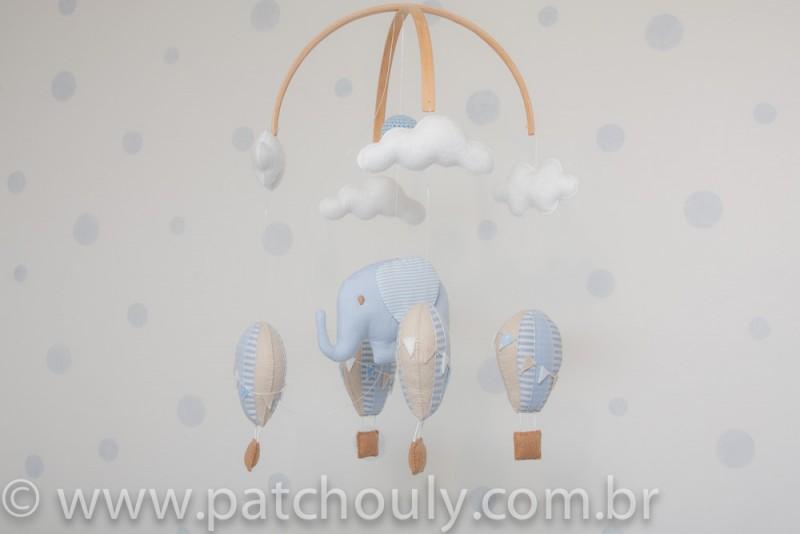 Móbile de Elefante e Balões Azul