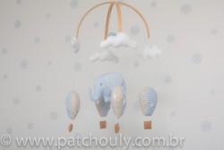 Móbile de Elefante e Balões Azul 1