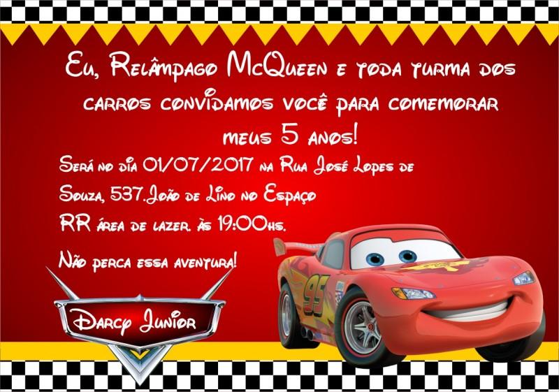 Convite Relâmpago McQueen