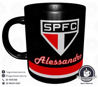 Caneca São Paulo FC - Preta - Personalizada - Porcelana 325 ml