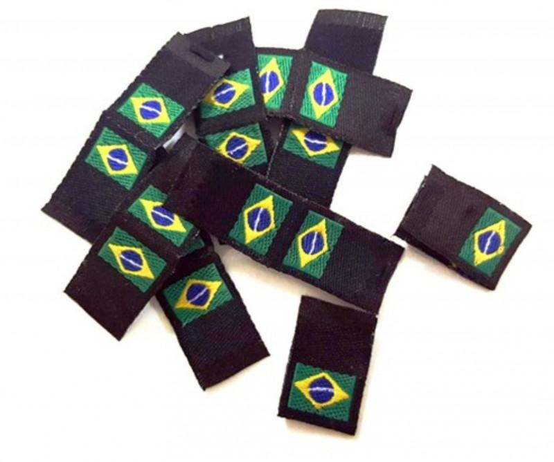 Etiqueta Bordada Bandeira do Brasil - 500 peças