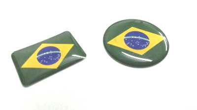 Etiqueta Bandeira Brasil Resinada