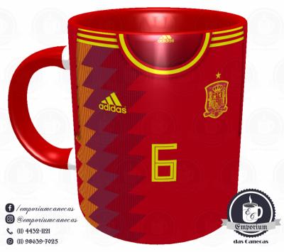 Caneca Espanha - Camisa Copa do Mundo 2018 - Porcelana 325 ml