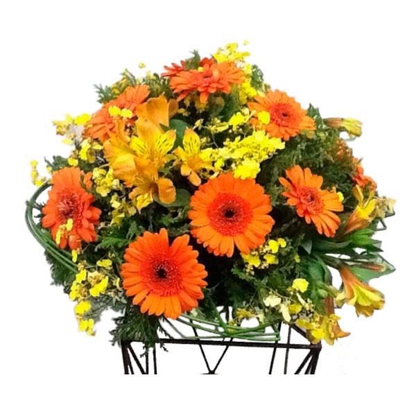 Arranjos com Flores Sortidas Laranja